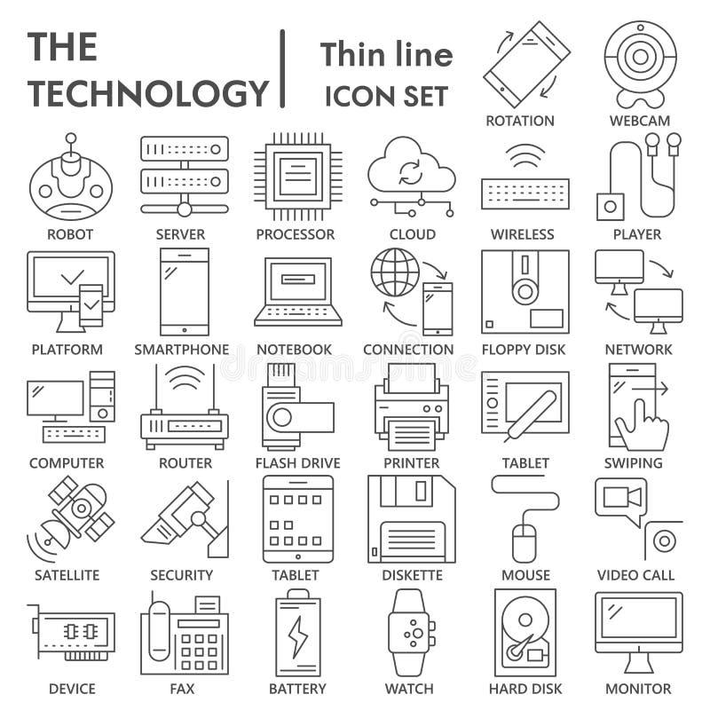 Technologii ikony cienki kreskowy set, przyrządów symbole kolekcja, wektor kreśli, logo ilustracje, technika znaki liniowi royalty ilustracja