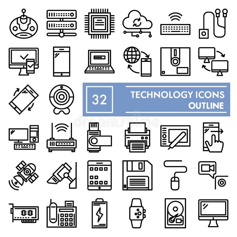 Technologii ikony kreskowy set, przyrządów symbole kolekcja, wektor kreśli, logo ilustracje, technika znaków liniowi piktogramy royalty ilustracja