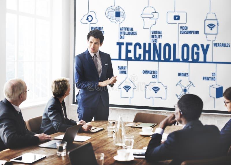 Technologii innowaci wymyślenia związku Futurystyczny pojęcie zdjęcia stock