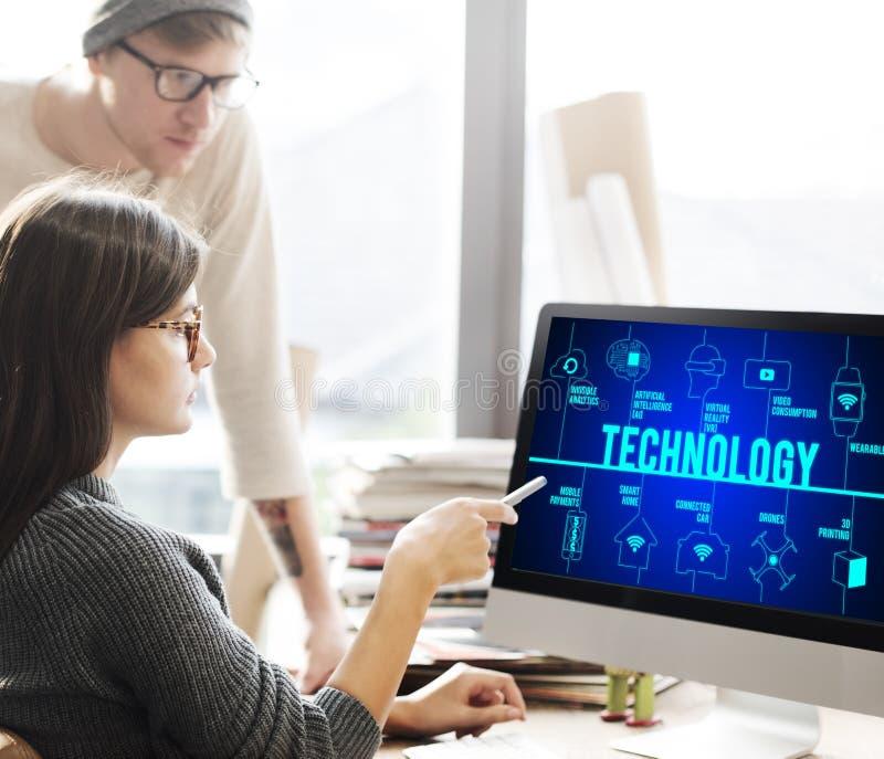 Technologii innowaci wymyślenia związku Futurystyczny pojęcie zdjęcie royalty free