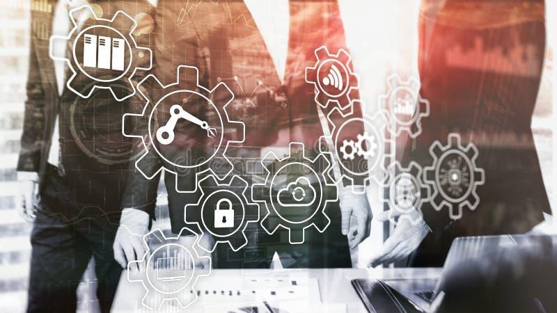 Technologii innowacja i proces automatyzacja Mądrze przemysł 4 royalty ilustracja