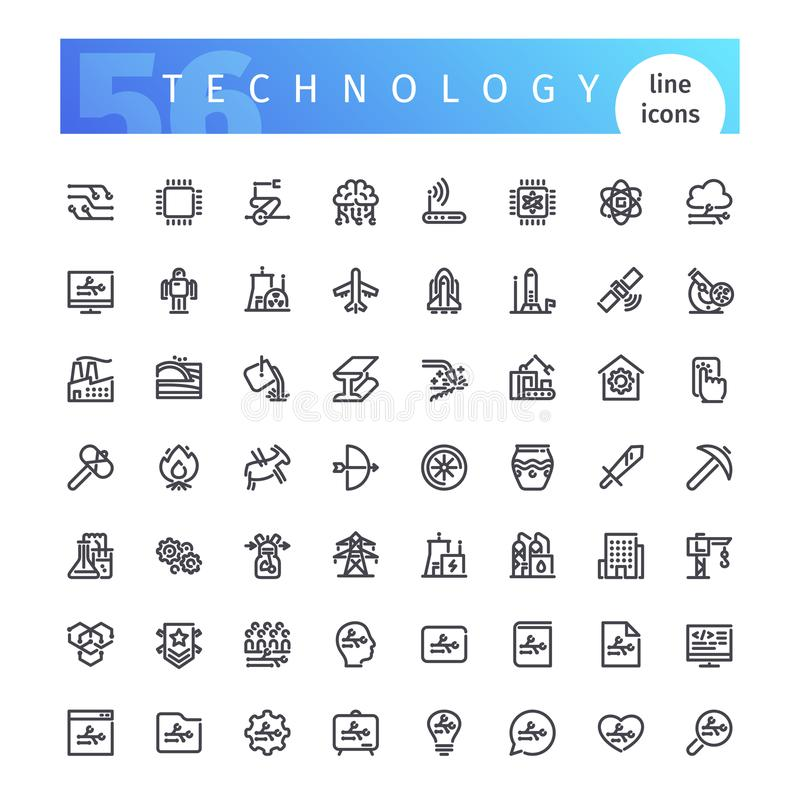 Technologii Kreskowe ikony Ustawiać ilustracji