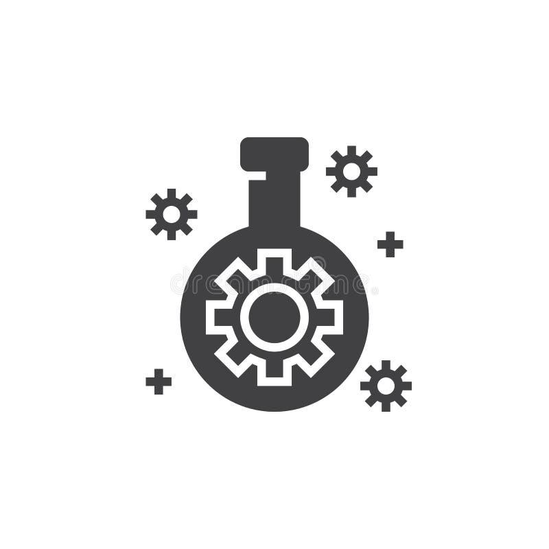 Technologii lab kolba z przekładni ikony wektorem, wypełniający mieszkanie znak, ilustracja wektor