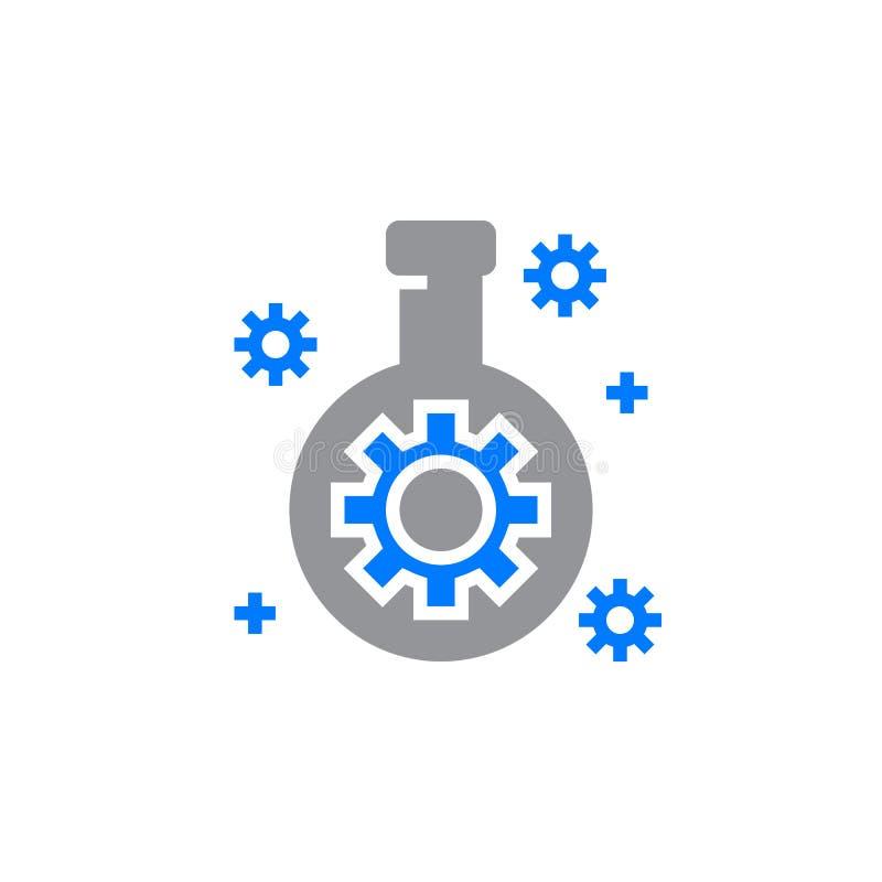 Technologii lab kolba z przekładni ikony wektorem, wypełniający mieszkanie znak, w ten sposób ilustracja wektor