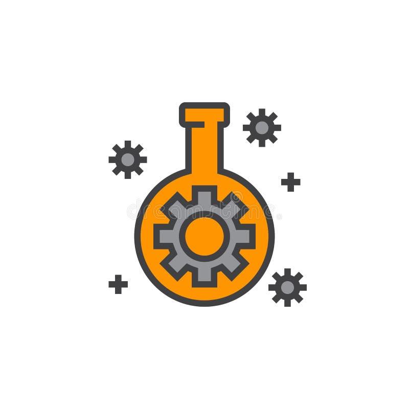 Technologii lab kolba z przekładni linii ikoną, wypełniający konturu wektor ilustracja wektor