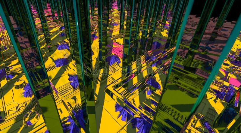 Technologii miasta powierzchnia z mnóstwo szczegółami Prosta geometria kształtuje wyrzuconego przypadkowy wzrost 3 d czynią ilustracji