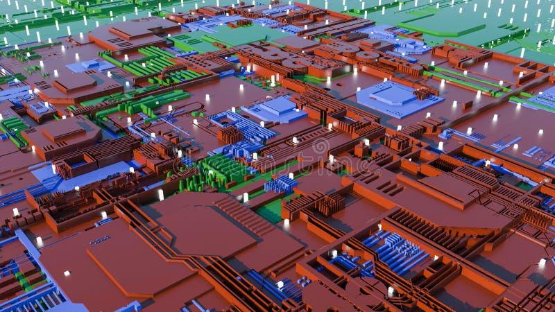 Technologii miasta powierzchnia z mnóstwo szczegółami Prosta geometria kształtuje wyrzuconego przypadkowy wzrost 3 d czynią royalty ilustracja