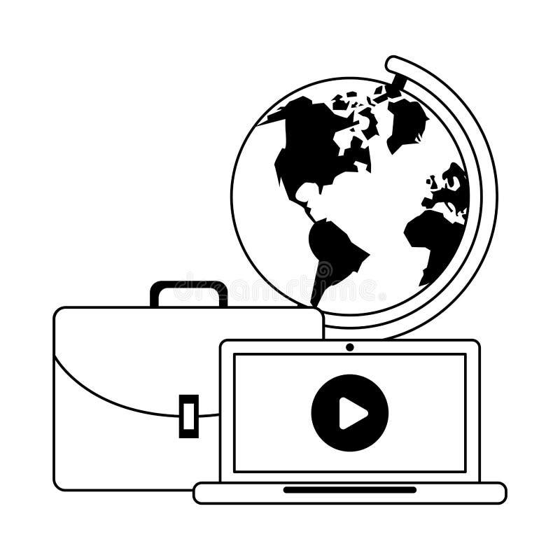 Technologii narzędzia cyfrowa nowożytna kreskówka w czarny i biały royalty ilustracja