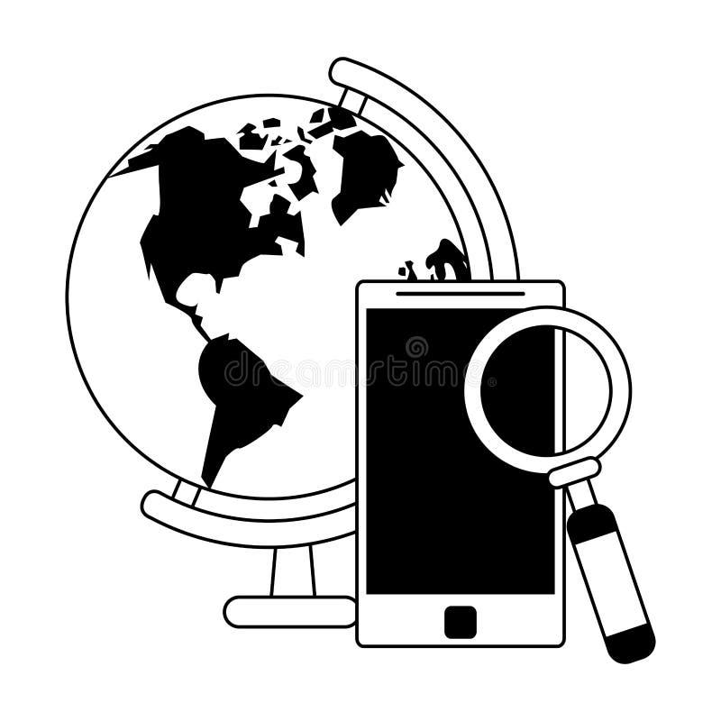 Technologii narzędzia cyfrowa nowożytna kreskówka w czarny i biały ilustracji
