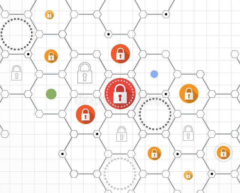 Technologii ochrony pojęcie Nowożytny zbawczy cyfrowy tło ilustracji