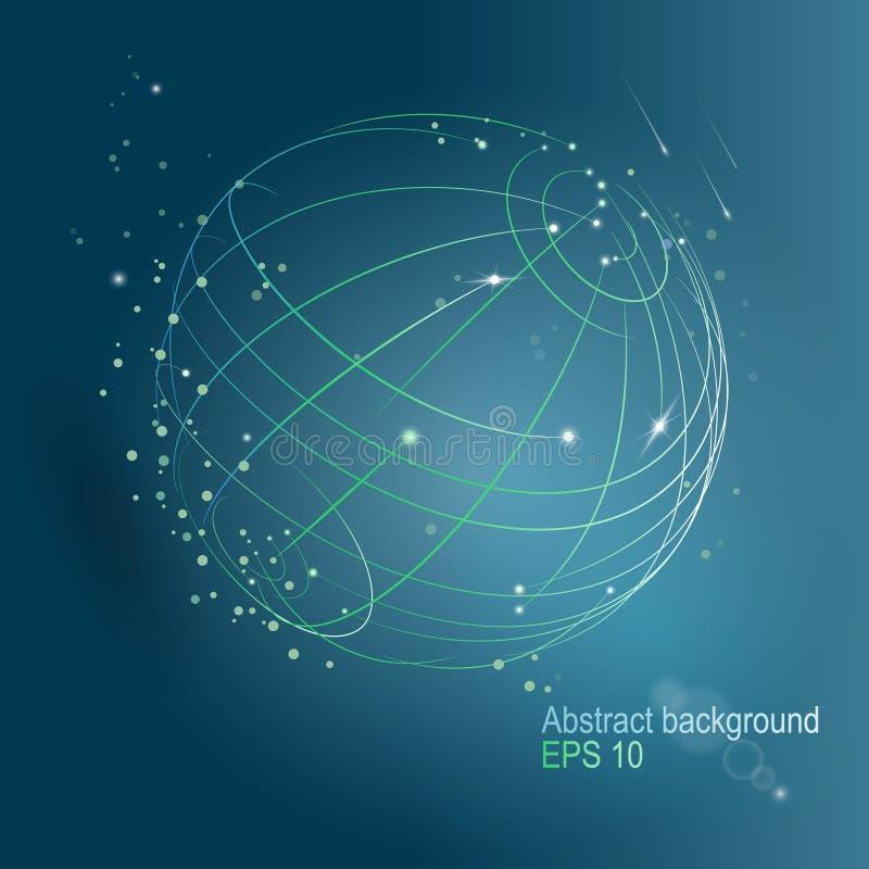 Technologii planeta Symboliczny wizerunek sfera kropkująca wykłada i kropki Chaotyczne rozjarzone cząsteczki ilustracja wektor