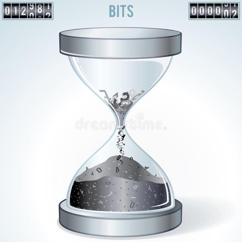 Technologii pojęcia Numerowy Spadać Wśrodku Hourglass royalty ilustracja