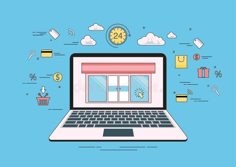 Technologii pojęcia pomysł, handel elektroniczny, online zakupy, mieszkanie kreskowy wektor i ilustracja, 24 godziny na laptopie, ilustracji