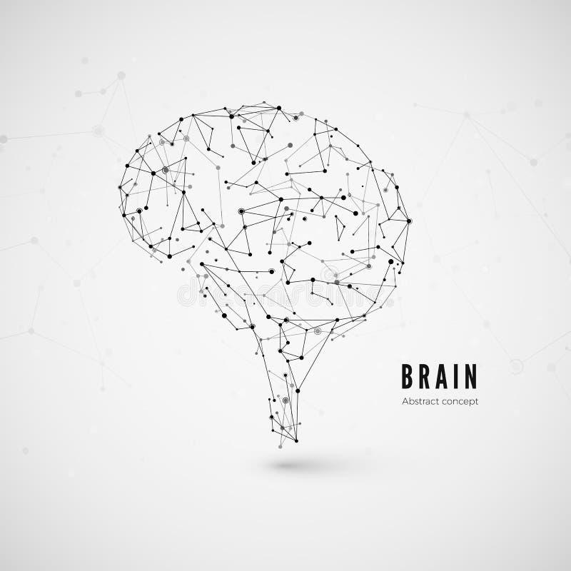 Technologii pojęcie, cząsteczki i linie, Poligonalny móżdżkowy kształt sztuczna inteligencja z liniami i kropkami wektor ilustracji