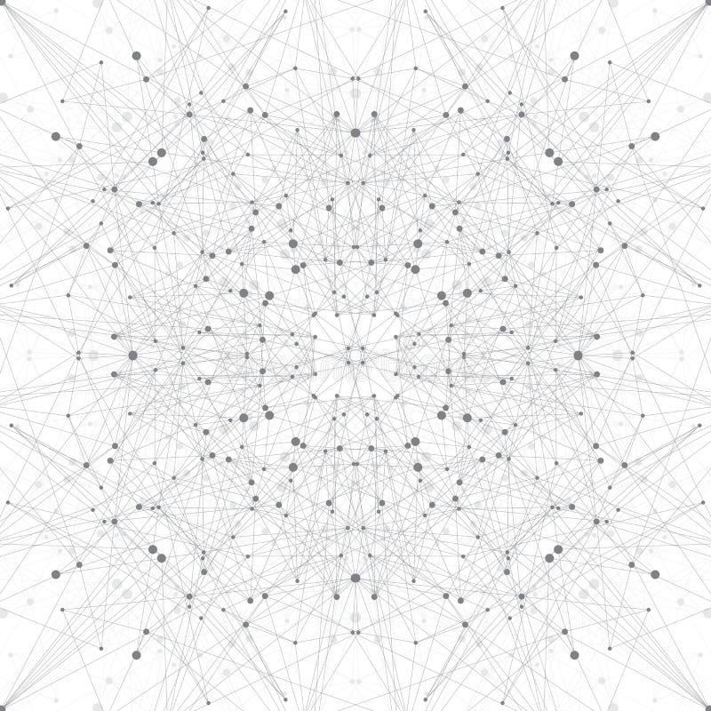 Technologii popielata ilustracja Związane linie z kropkami ilustracja wektor