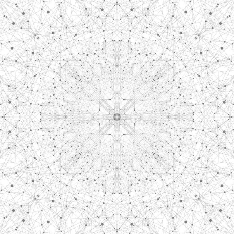 Technologii popielata ilustracja Związane linie z kropkami ilustracji