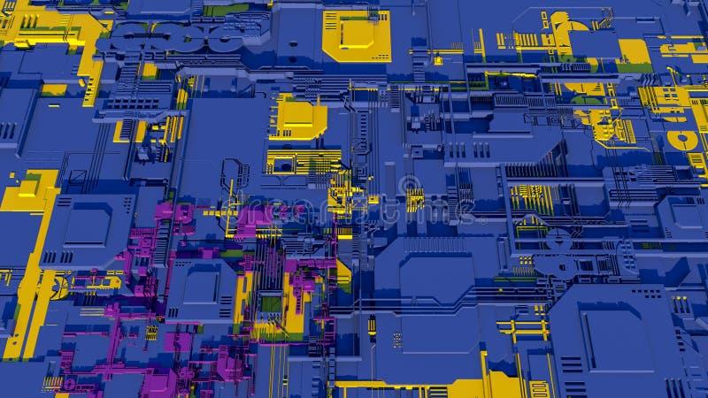 Technologii powierzchnia z mnóstwo szczegółami Prosta geometria kształtuje wyrzuconego przypadkowy wzrost 3 d czynią royalty ilustracja