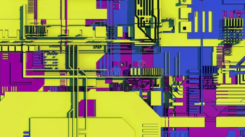 Technologii powierzchnia z mnóstwo szczegółami Prosta geometria kształtuje wyrzuconego przypadkowy wzrost 3 d czynią ilustracji