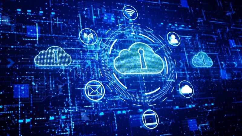 Technologii sieć i dane związek, Bezpiecznie dane sieć Cyfrowy Cloud Computing, Cyber ochrony pojęcie royalty ilustracja