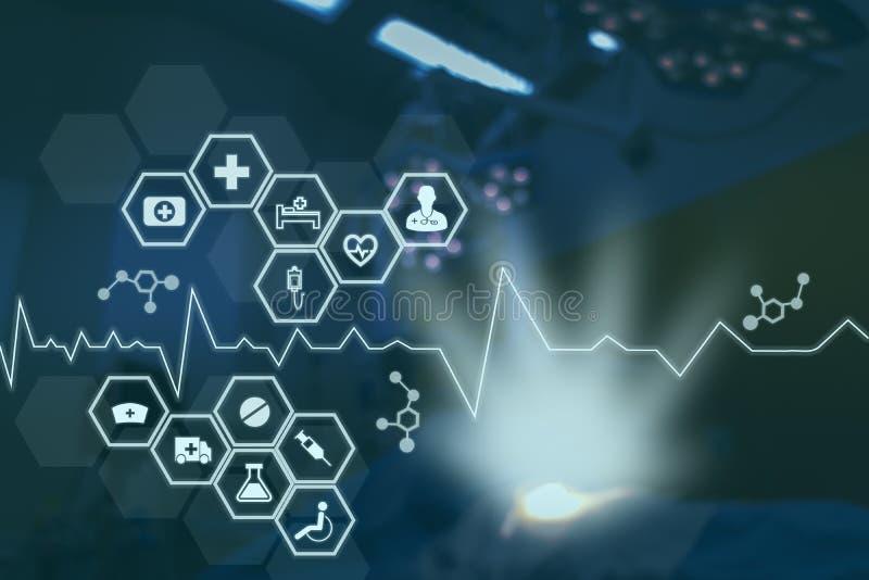 Technologii sieć w medycznym medycyny pojęciu, ikony sieci medyczny związek z nowożytnym parawanowym wirtualnym interfejsem z dru royalty ilustracja