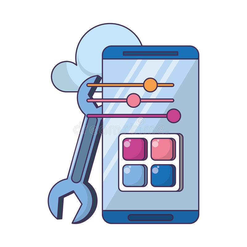 Technologii sieci narzędzia cyfrowa kreskówka royalty ilustracja