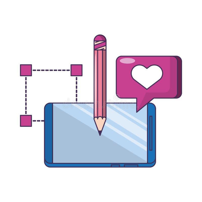 Technologii sieci narzędzia cyfrowa kreskówka ilustracji