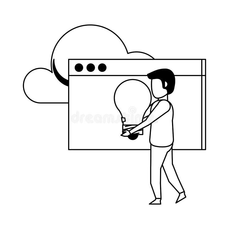 Technologii sieci narzędzia cyfrowa kreskówka w czarny i biały ilustracja wektor