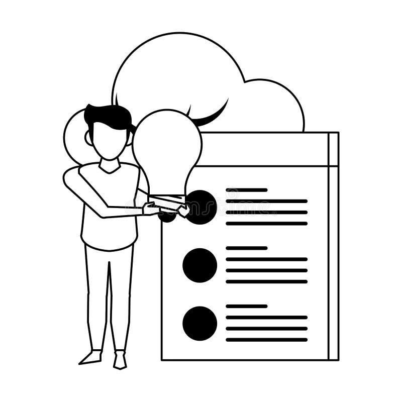Technologii sieci narzędzia cyfrowa kreskówka w czarny i biały royalty ilustracja