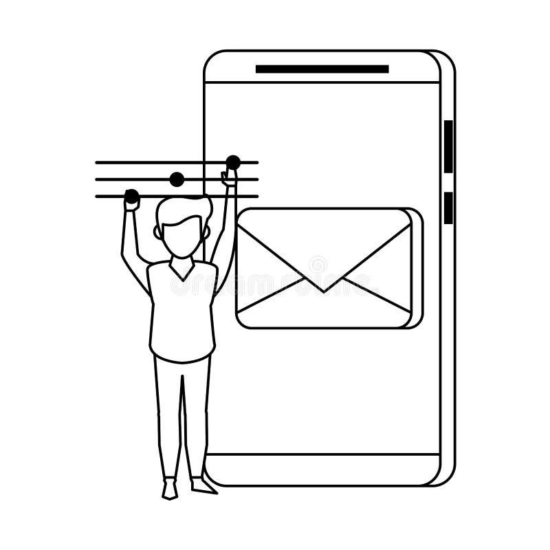 Technologii sieci narzędzia cyfrowa kreskówka w czarny i biały ilustracji