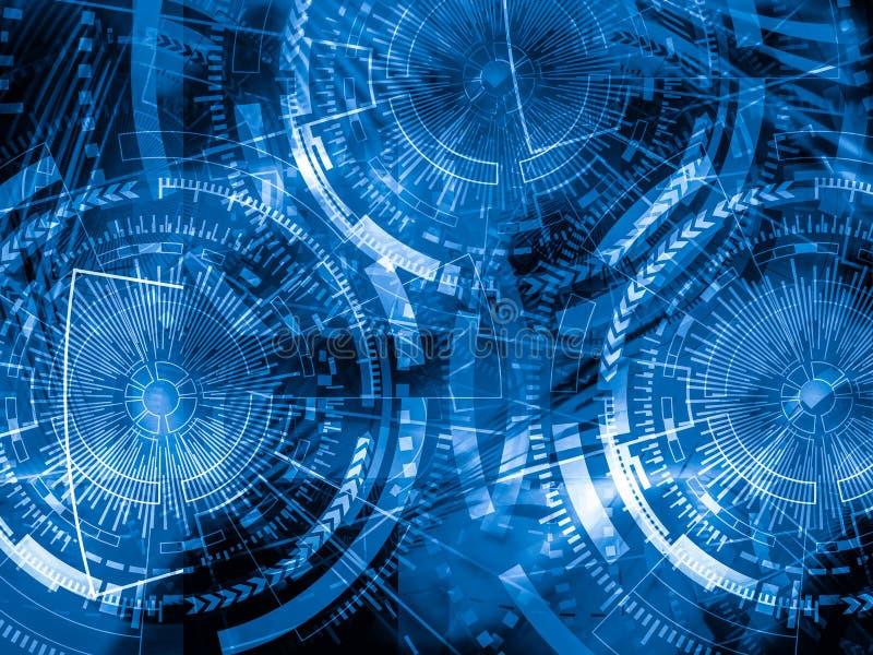 Technologii tła pojęcie Abstrakcjonistyczny Błękitny tło kopia royalty ilustracja