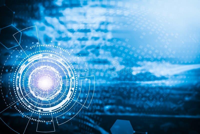 Technologii tło od okrąg ikon z linia związkiem sy ilustracja wektor