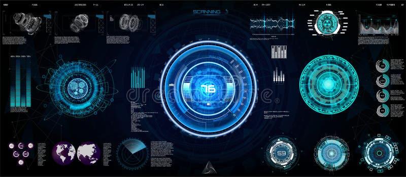 Technologii Ui futurystyczny pojęcie HUD, interfejs ilustracja wektor