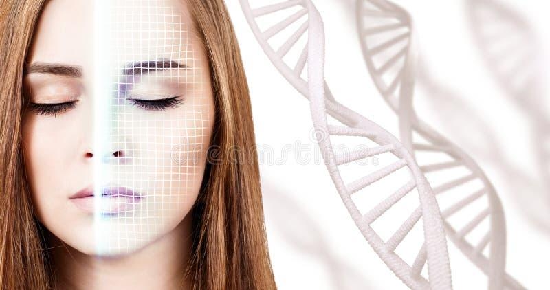 Technologisch aftasten van gezicht van jonge vrouw onder DNA-stammen stock foto
