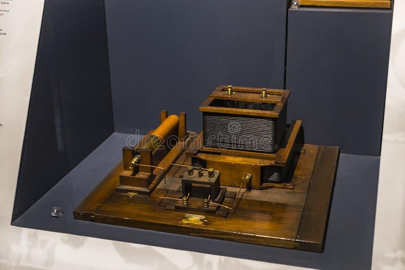 Technologisch Technisch die Museum na Leonardo Da Vinci Department, expositie wordt genoemd van de ontwikkeling van mededeling en royalty-vrije stock afbeelding