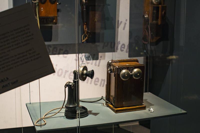 Technologisch Technisch die Museum na Leonardo Da Vinci Department, expositie wordt genoemd van de ontwikkeling van mededeling en stock foto's