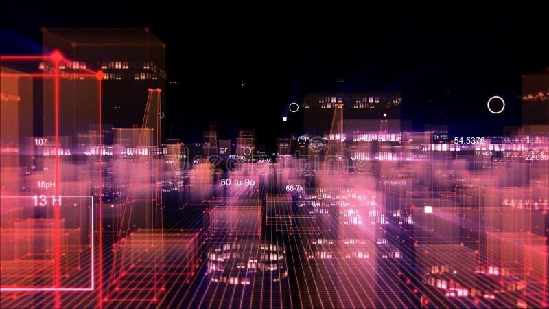 Technologische digitale achtergrond die uit een futuristische stad met gegevens bestaan royalty-vrije illustratie