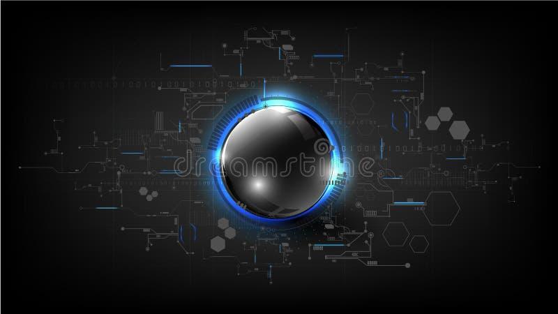 Technologische globale moderne het gebiedsamenvatting van de kringsraad backgr vector illustratie