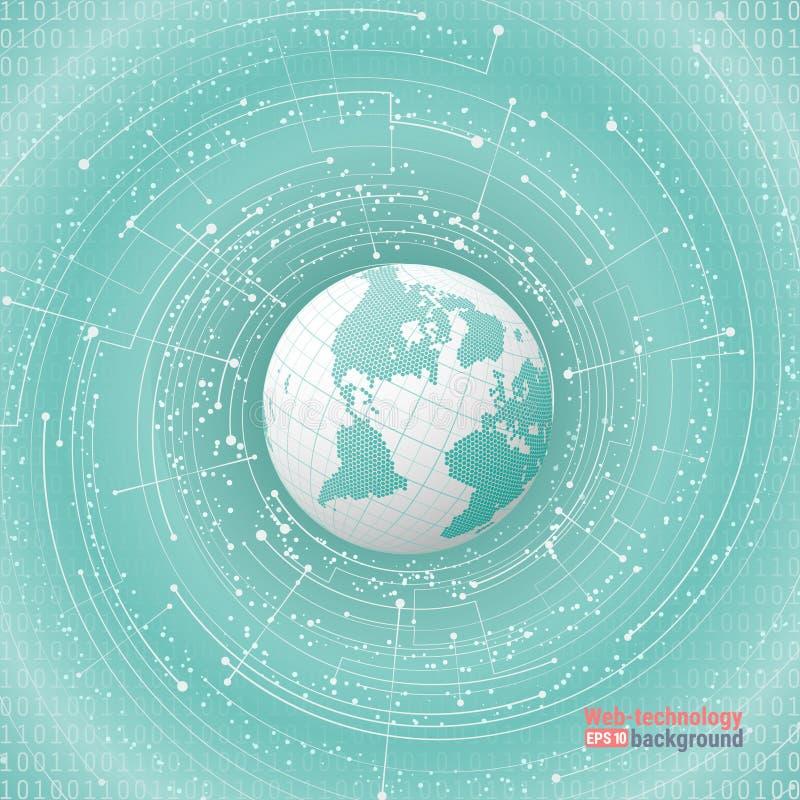 Technologische ontwikkeling en mededeling Het punt en de kromme construeerden het gebied wireframe, betekenis abstracte illustrat vector illustratie