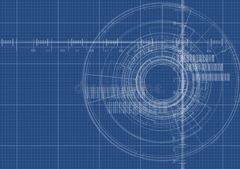 Technologische van de blauwdruk digitale interface vector als achtergrond royalty-vrije illustratie