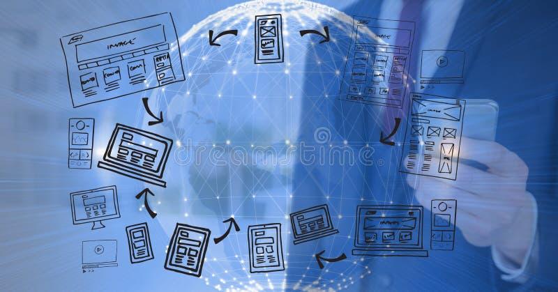 technologischer Hintergrund der Erde 3D mit Männern mit beweglichem und grafischem über Blogs vektor abbildung
