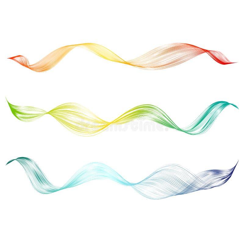 Technologischer Hintergrund des abstrakten glatten Gestaltungselements der gekrümmten Linie mit heller gewellter farbiger Linie S vektor abbildung