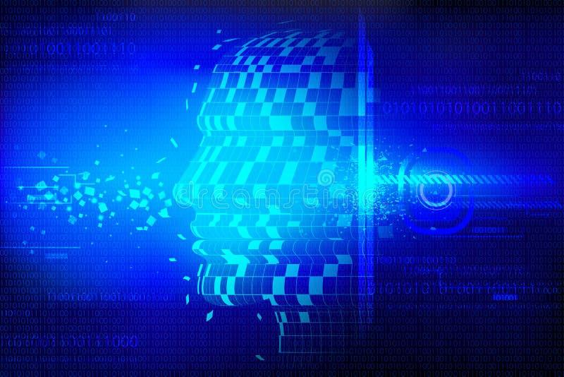 Technologischer Hintergrund mit menschlichem Kopf vektor abbildung