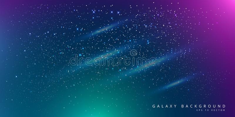 Colorful Space Galaxy Background with Shining Stars, Stardust and Nebula. Vector Illustration for artwork, party flyers, posters, royalty free illustration