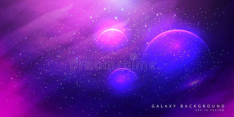 Colorful Space Galaxy Background with Shining Stars, Stardust and Nebula. Vector Illustration for artwork, party flyers, posters,. Brochures. Vector vector illustration
