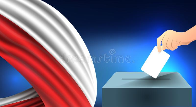 Male hand puts down a white sheet of paper with a mark as a symbol of a ballot paper against the background of the Poland flag, Po stock illustration