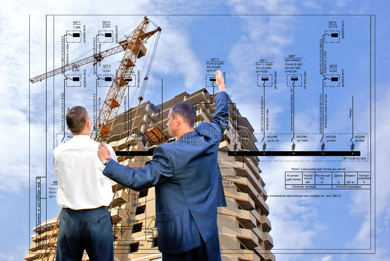 Technology. Projection -initial preparatory stage in construction new building royalty free stock photography