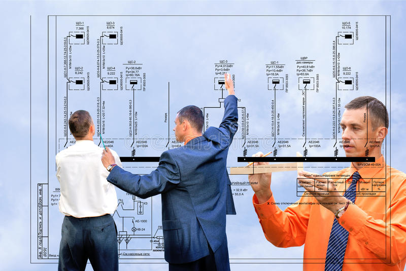 Technology. Projection -initial preparatory stage in construction new building stock image