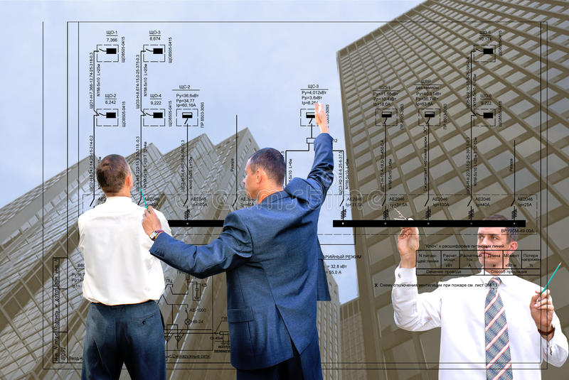Technology. Projection -initial preparatory stage in construction new building royalty free stock photo