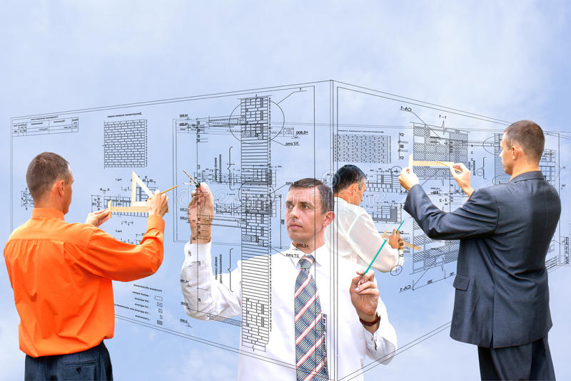Technology. Projection -initial preparatory stage in construction new building stock photography