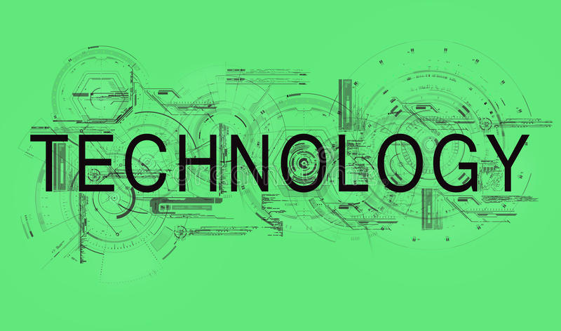 Technology. Text technology with schedules and schemes of scientific researching vector illustration